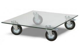 Glazen salontafel vierkant met wielen
