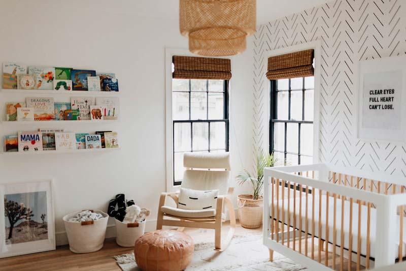 babykamer inspiratie bamboe rolgordijnen