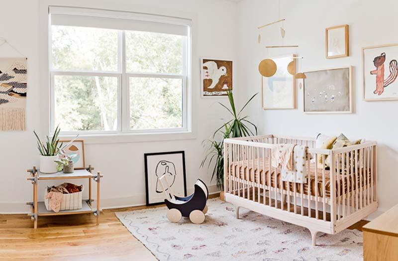 babykamer inspiratie groot vloerkleed