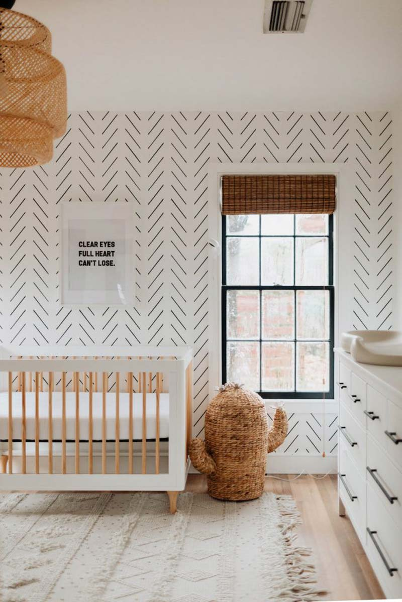 babykamer inspiratie neutrale babykamer behang