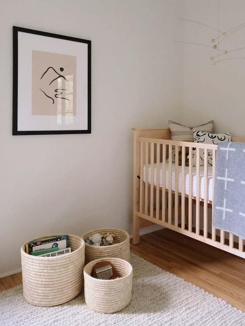 babykamer inspiratie wollen opbergmanden