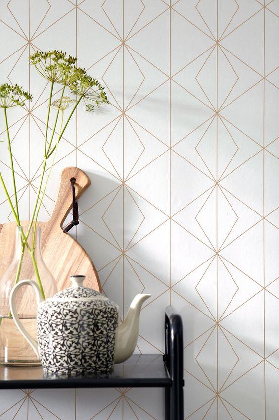 Behang met geometrisch patroon