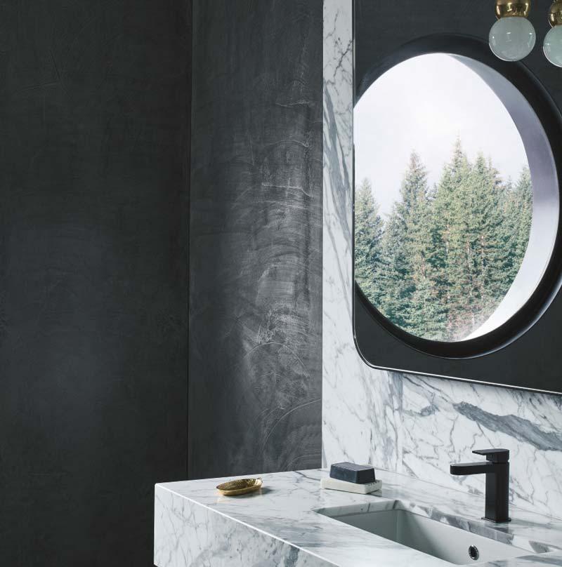 betonlook muur badkamer