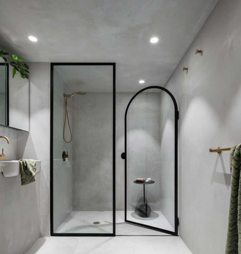 betonlook muur verven badkamer