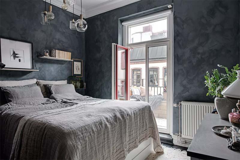 betonlook muur verven slaapkamer