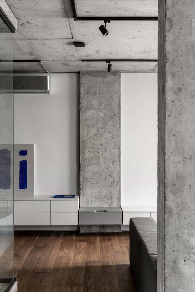 betonnen plafond railsverlichting