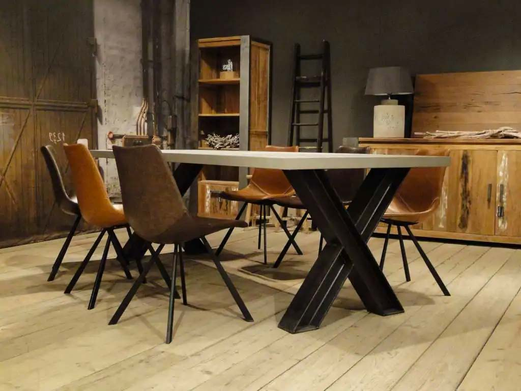 betonnen tafel stalen x poten