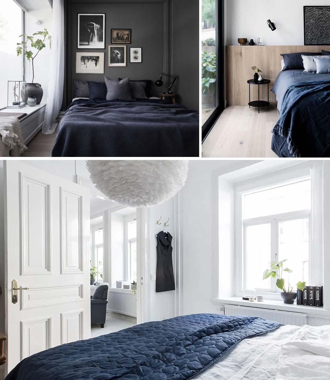 blauw interieur beddengoed slaapkamer