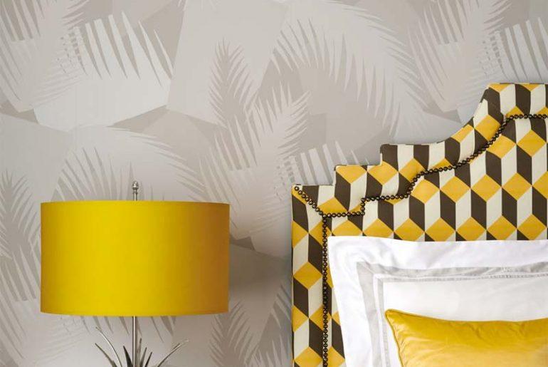 cole & son deco palm behang slaapkamer
