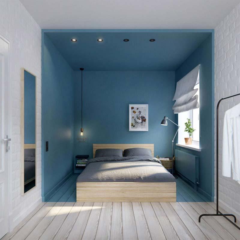 colour blocking slaapkamer blauw wit