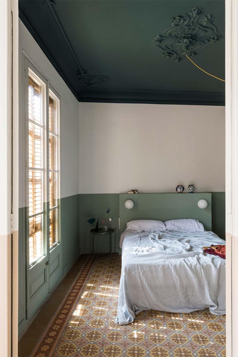colour blocking slaapkamer groene tinten