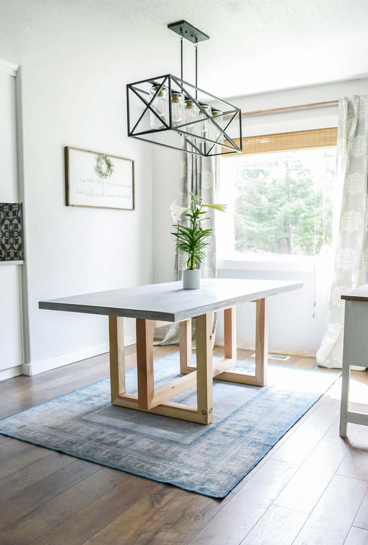 diy betonnen eettafel houten onderstel maken
