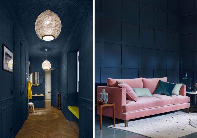 donkerblauw interieur roze geel combineren