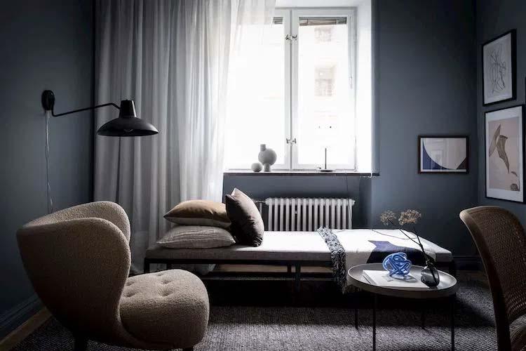 donkerblauw interieur