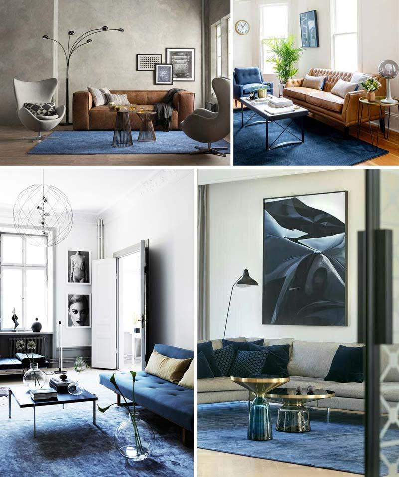 donkerblauw vloerkleed blauw interieur