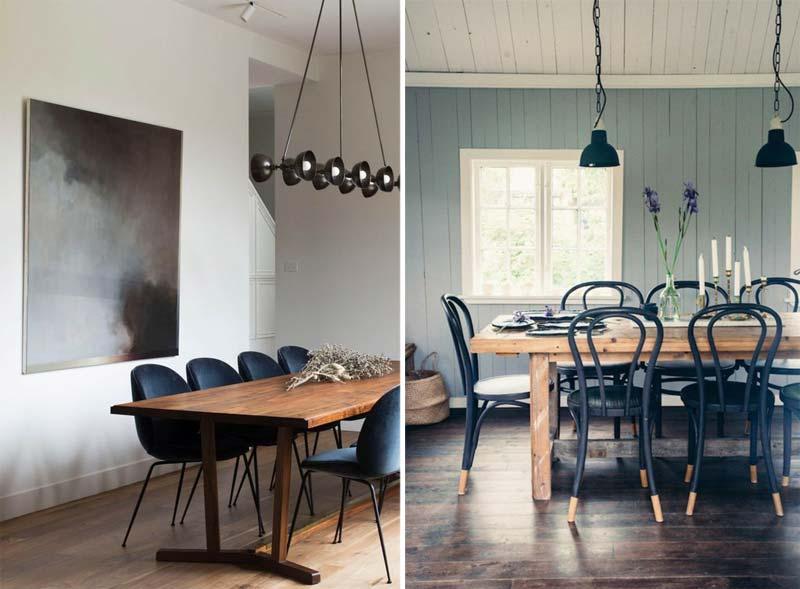 donkerblauwe eetkamerstoelen interieur