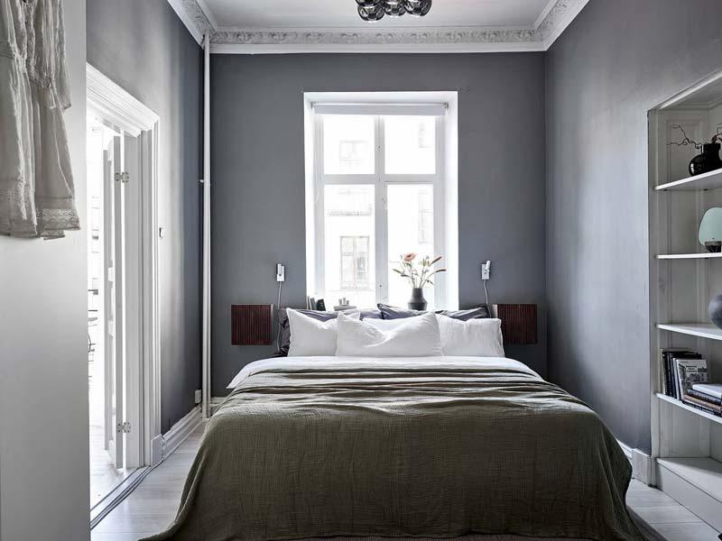 donkergrijze muren slaapkamer