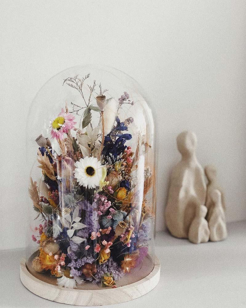 droogbloemen glazen stolp