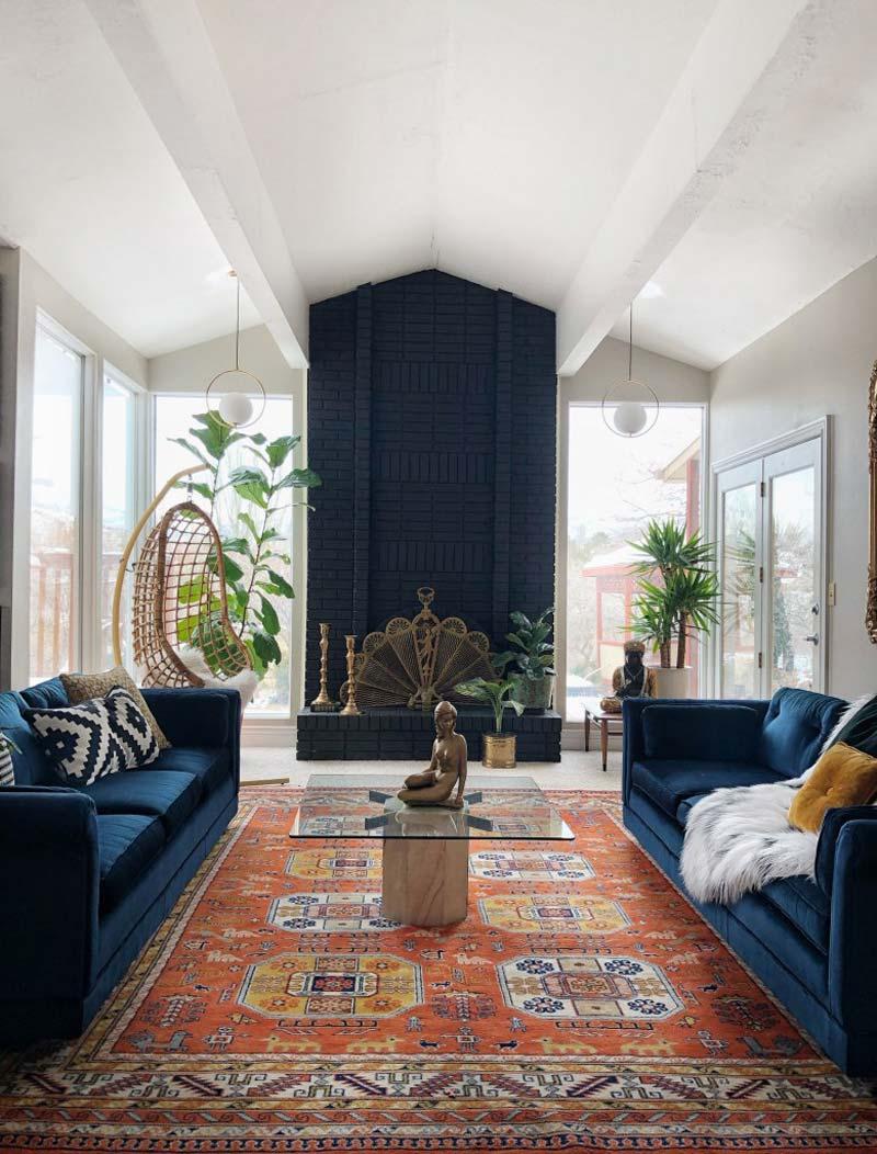 Eclectisch interieur - Strakke lijnen, boho vibe en gouden accenten