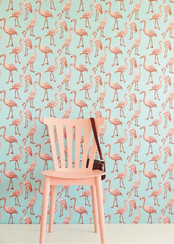 flamingo-patroon-behang