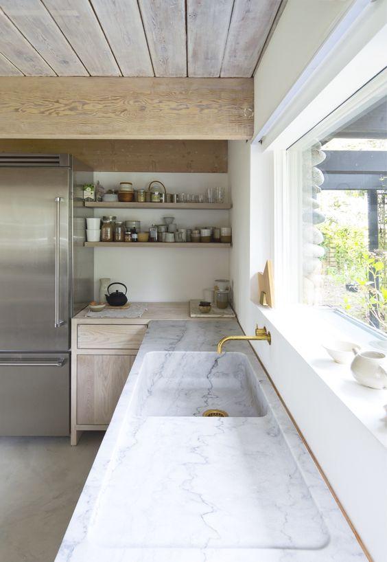 Geïntegreerde spoelbak in de keuken inspiratie