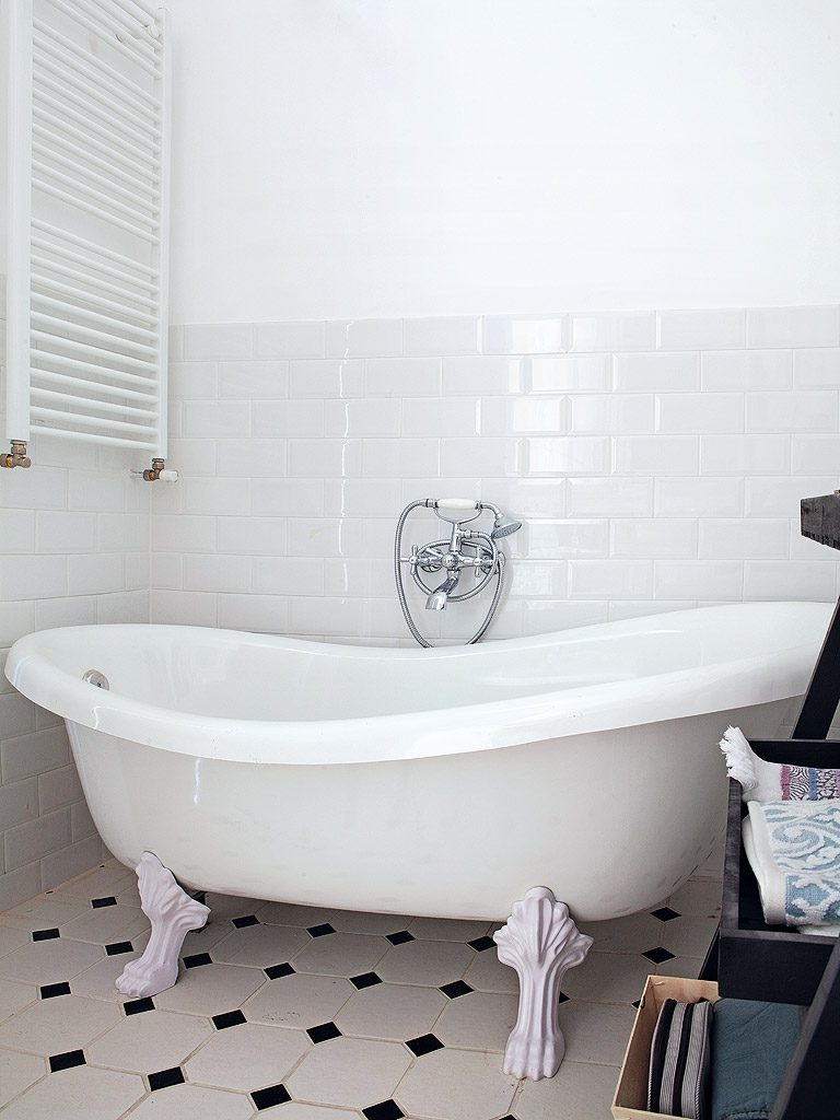 Gerenoveerde klassieke vintage badkamer