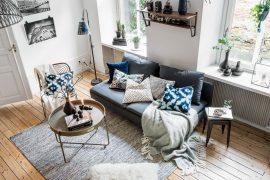 Gezellige herfst woonkamer met eethoek