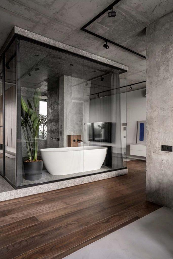 glazen wand badkamer