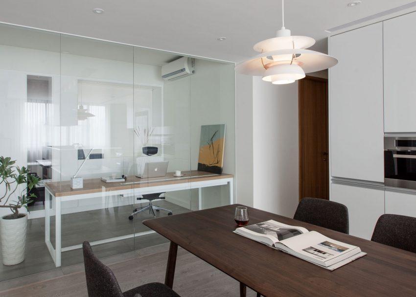 Een glazen wand tussen kantoor en woonkamer homease - Moderne kantoorbureaus ...