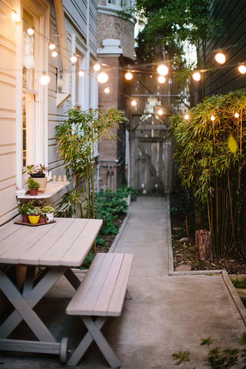 goedkope tuin makeover ideeen snoerverlichting