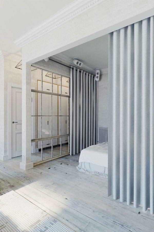 Gordijnen open slaapkamer loft