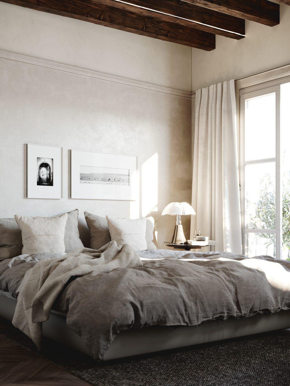 gordijnroede aan de wand boven de grote ramen in slaapkamer