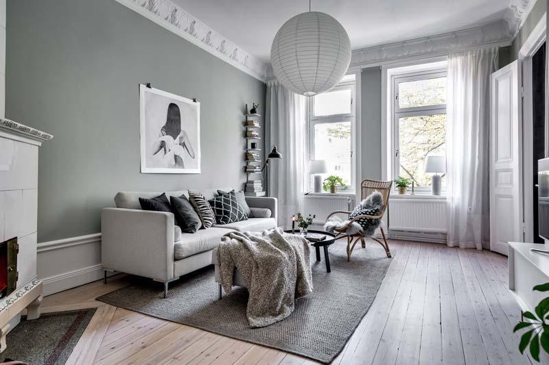 grijze groene muren woonkamer