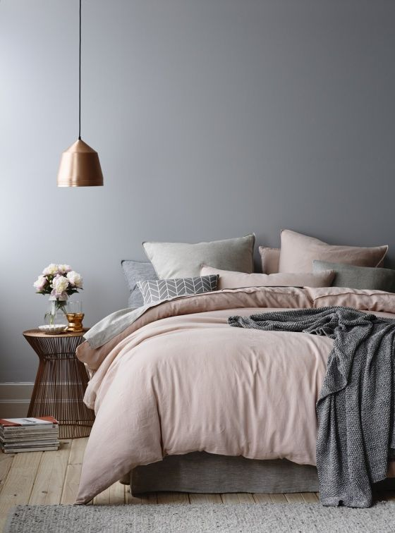 Grijze muren slaapkamer