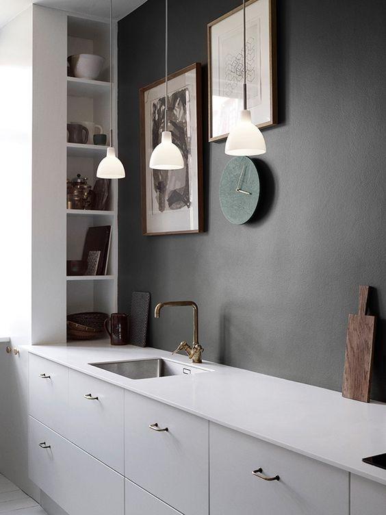 Muur kleuren homease - Keuken rode en grijze muur ...