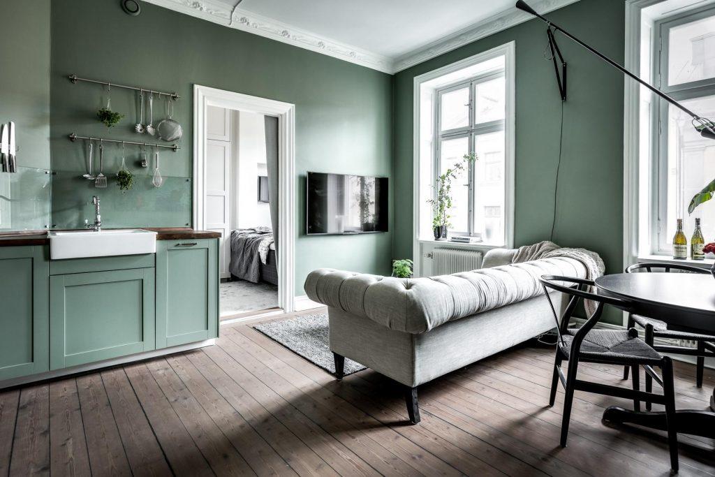 klein appartement van 34m2 met mosgroene muren homease. Black Bedroom Furniture Sets. Home Design Ideas
