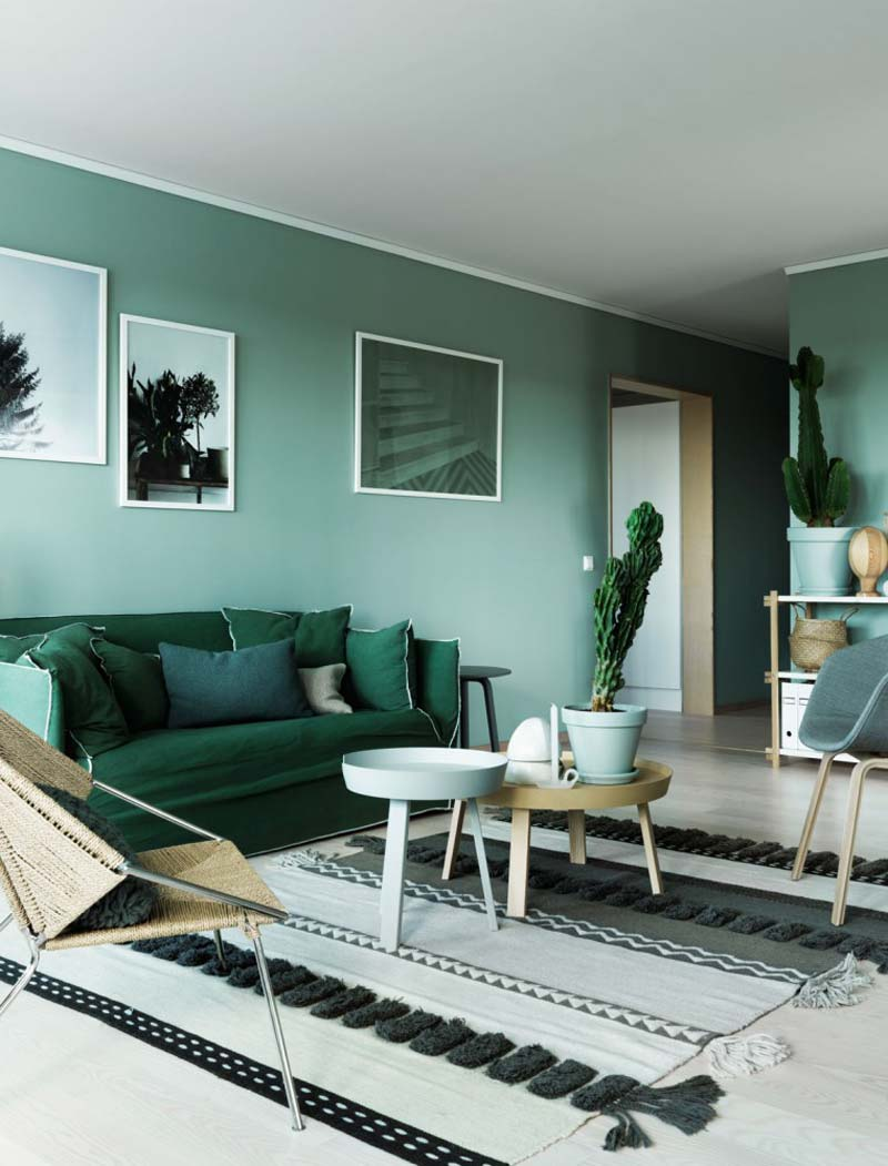 groene muur woonkamer mintturquoise