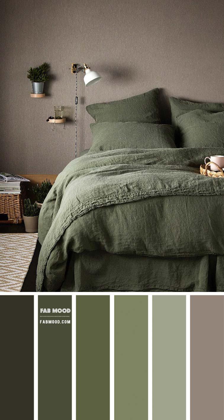 Slaapkamer met mooie natuurlijke kleuren? Kies dan voor dit pallet met prachtige groene kleurtinten en aardetinten.