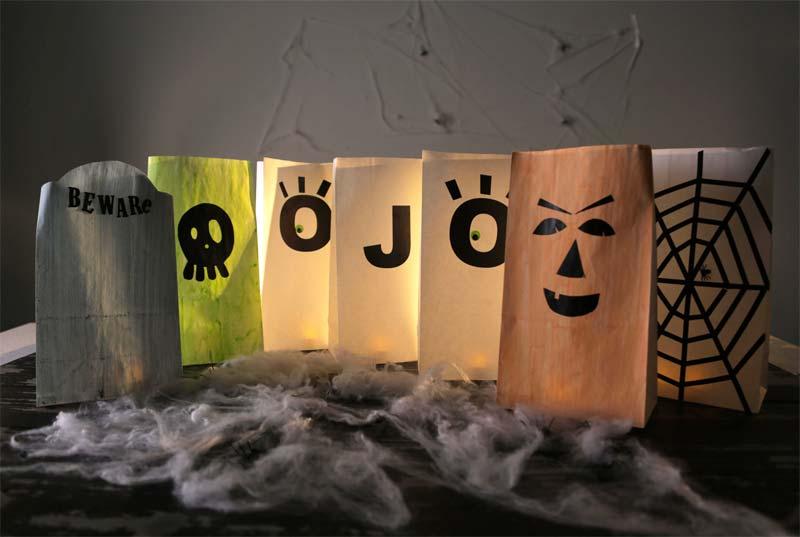 halloween decoratie ideeën enge papieren lantaarns