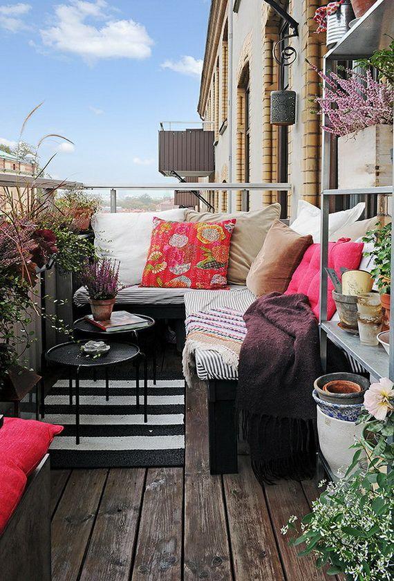 Hoekbank op klein balkon