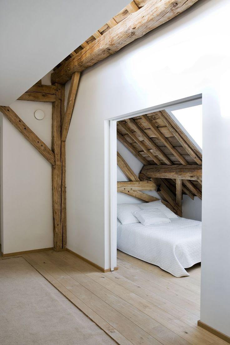 Houten balken in de slaapkamer