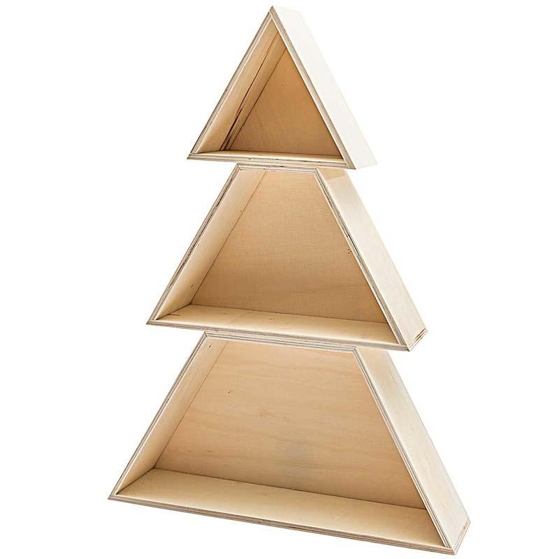 houten kerstboom vakkenkast