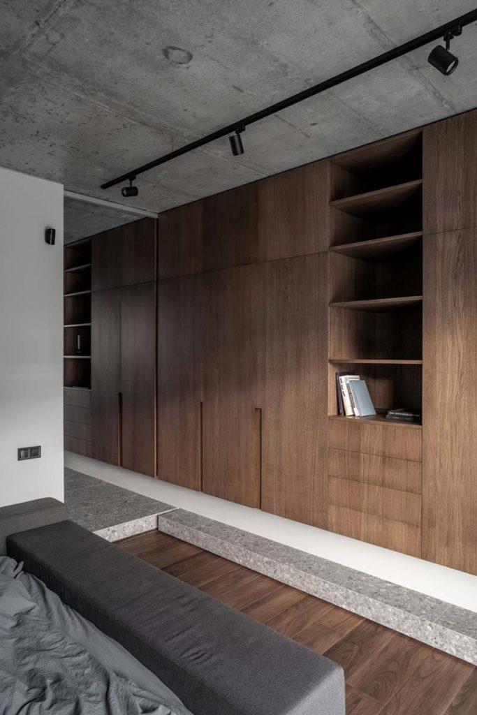 houten maatkast industriële slaapkamer