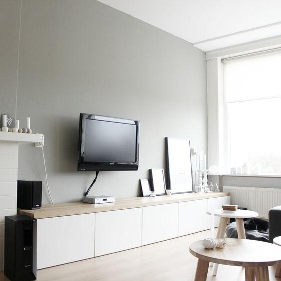 houten plank besta tv meubel