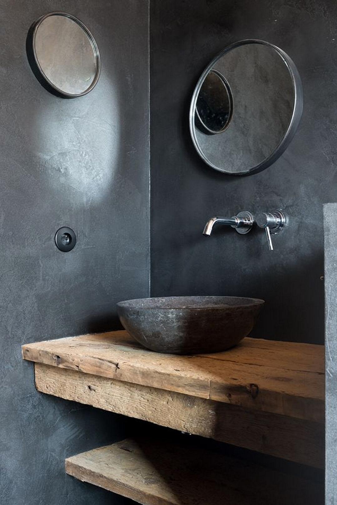 houten werkblad badkamer granieten wastafel