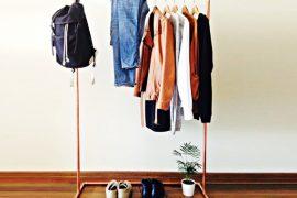 Kleding rek / industrieel ontwerp koperen pijp kleding rek 100cm lang