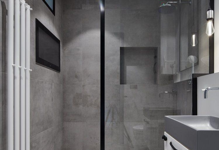 In deze kleine stoere badkamer kan je tv kijken vanuit de douche