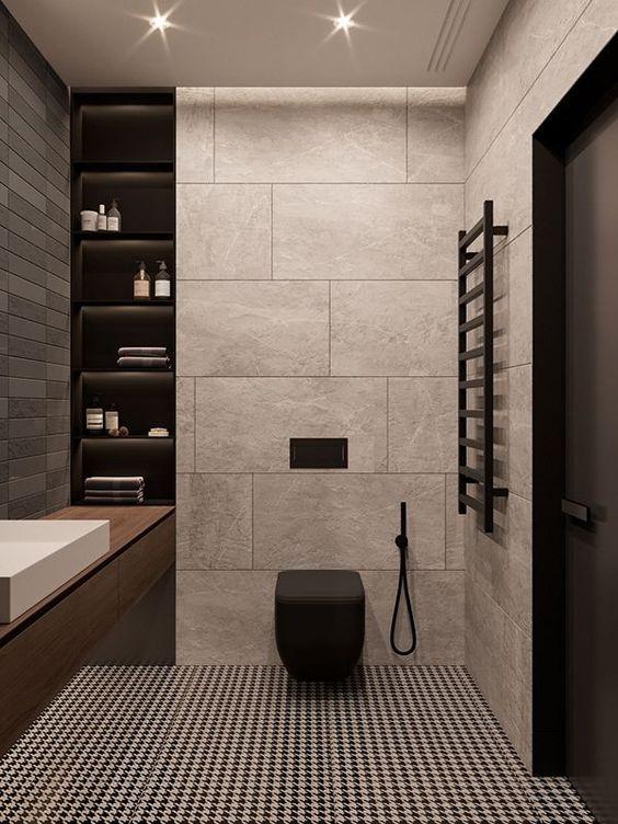 Industriële badkamer mat zwart toilet
