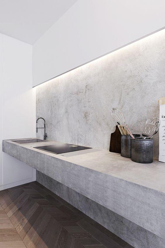 Industriële keuken betonnen muur