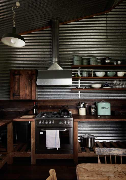 industriële keuken golfplaat keuken achterwand